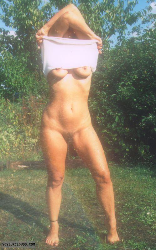 Wet body, hairy pussy, legs, hard nipples, yvonne