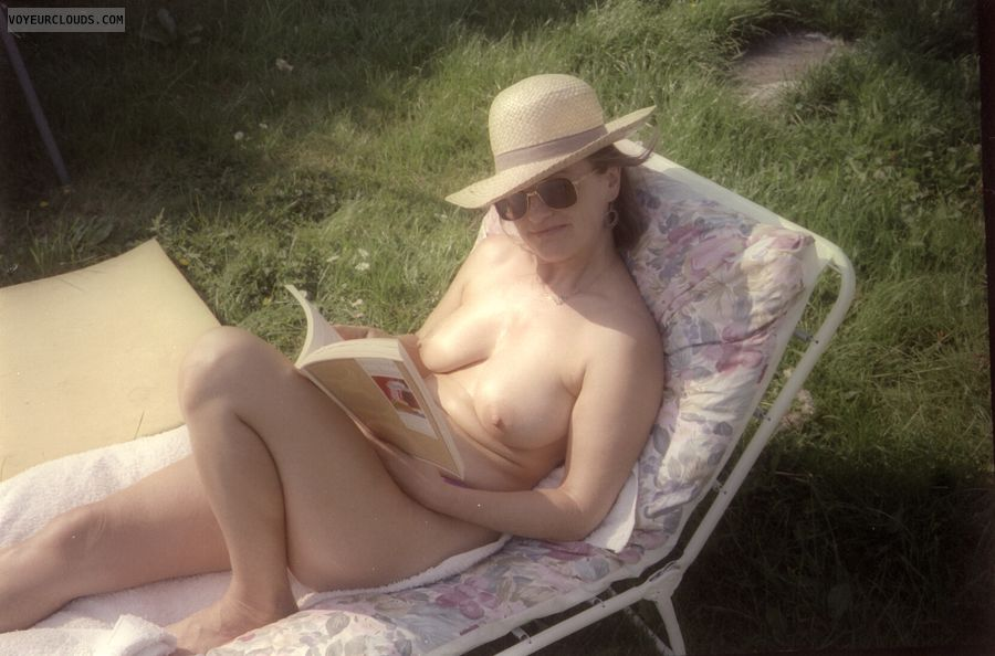 reading nude, saggy tits, naked outside, yvonne, legs