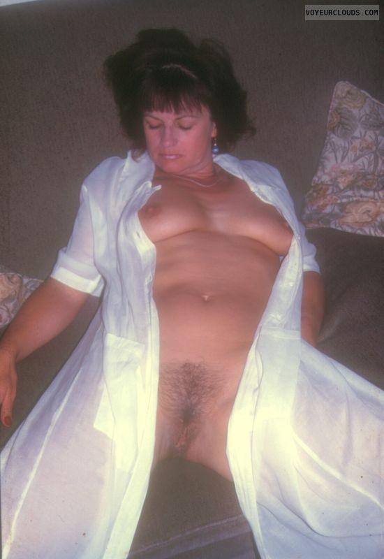 Yvonne, tits, hairy pussy, legs open, nipples