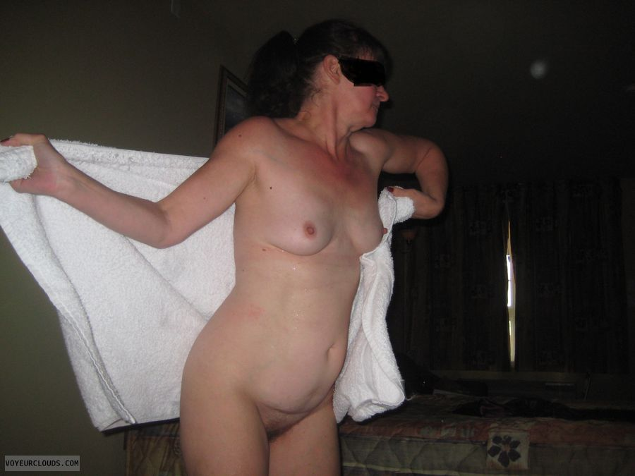 nude milf, small tits, hard nipples, hairy pussy