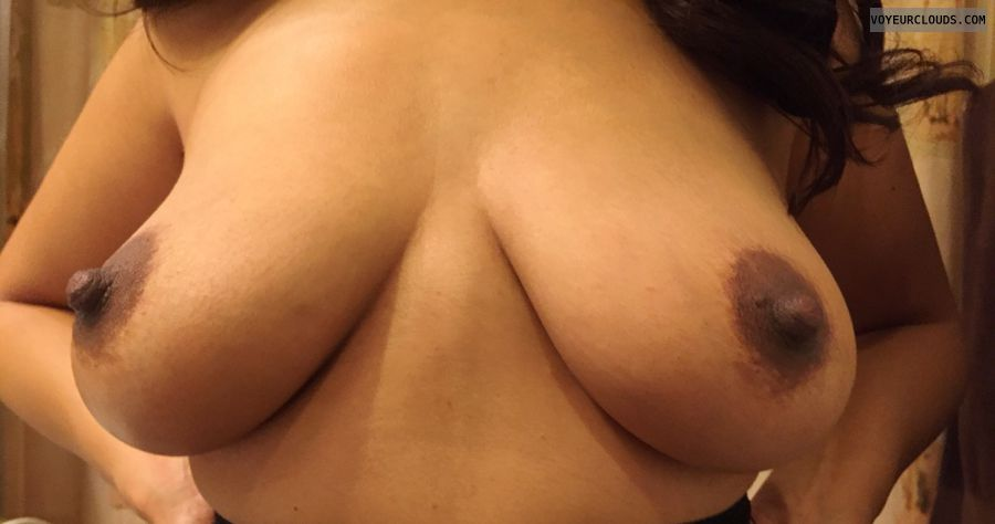 topless, dark areolas, hard nipples, big nipples, big boobs