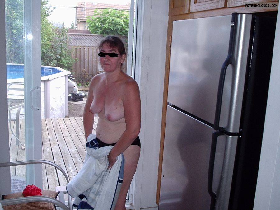 topless milf, hard nipples, tanlines