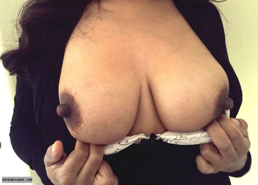 tits out, hard nipples, dark areolas, braless