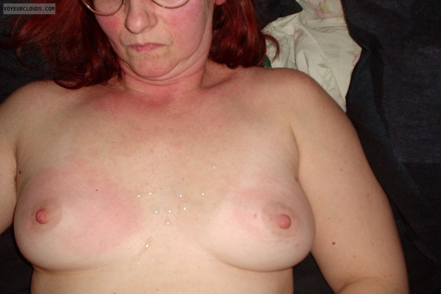 small tits, cum, hard nipples, topless