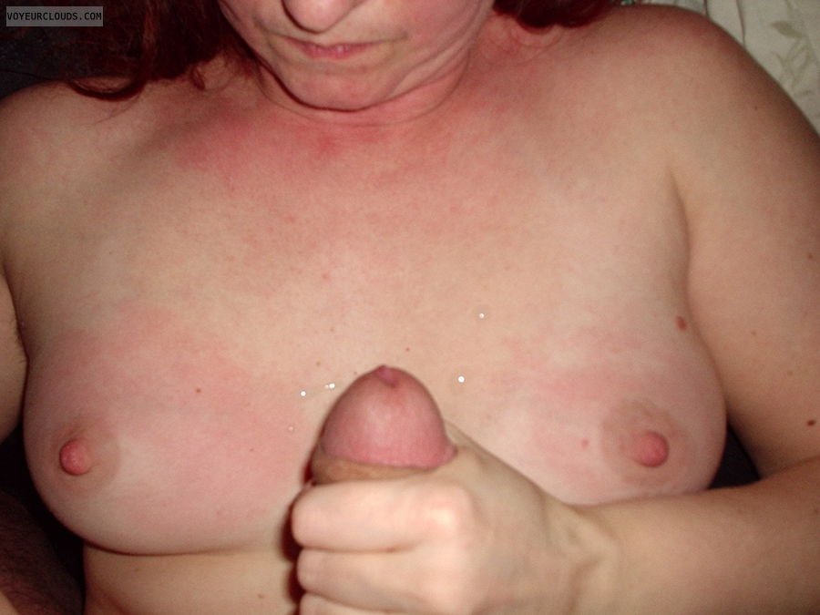 small tits, hard nipples, hard cock, hand job