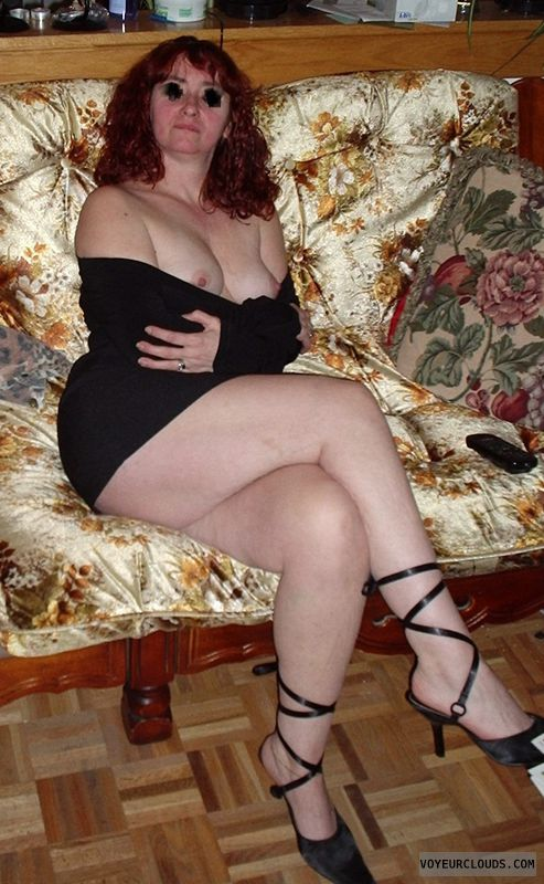 tits out, hard nipples, long lehs, high heels, sexy milf