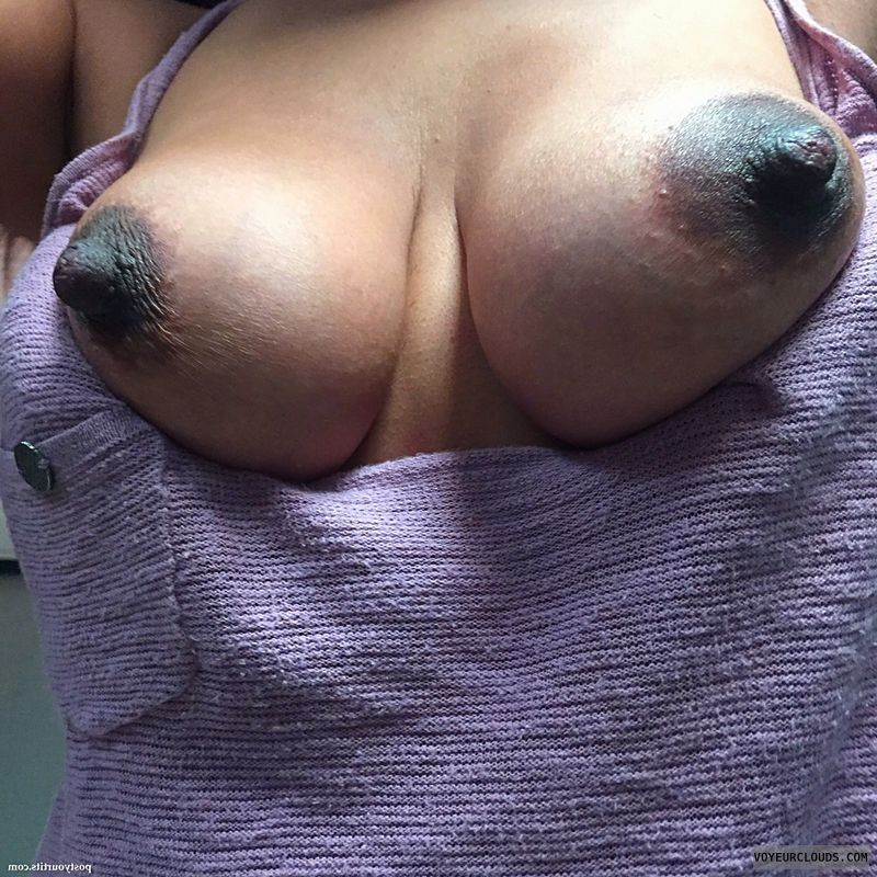 dark areolas, hard nipples, tits out, selfie