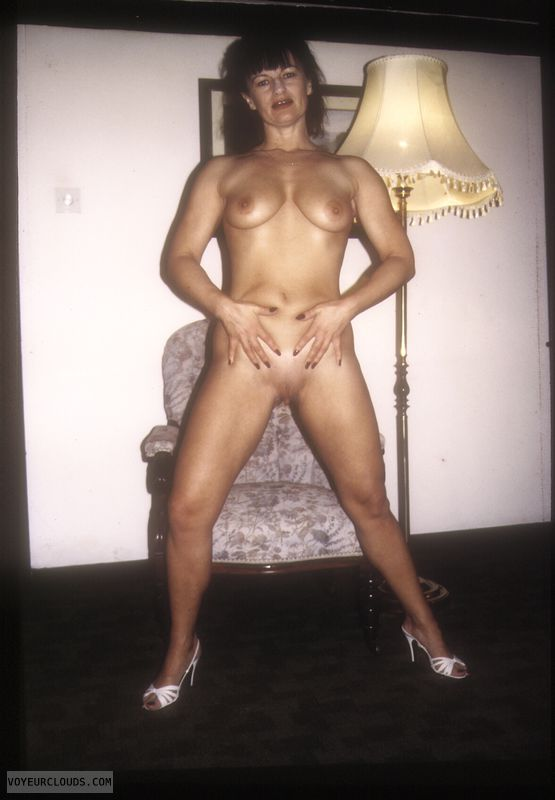Naked in high heels, legs, yvonne, legs apart, shaved pussy