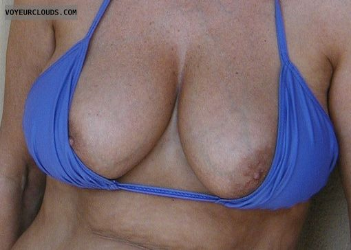 wife tits, bikini, tits out, hard nipples, deep cleavage