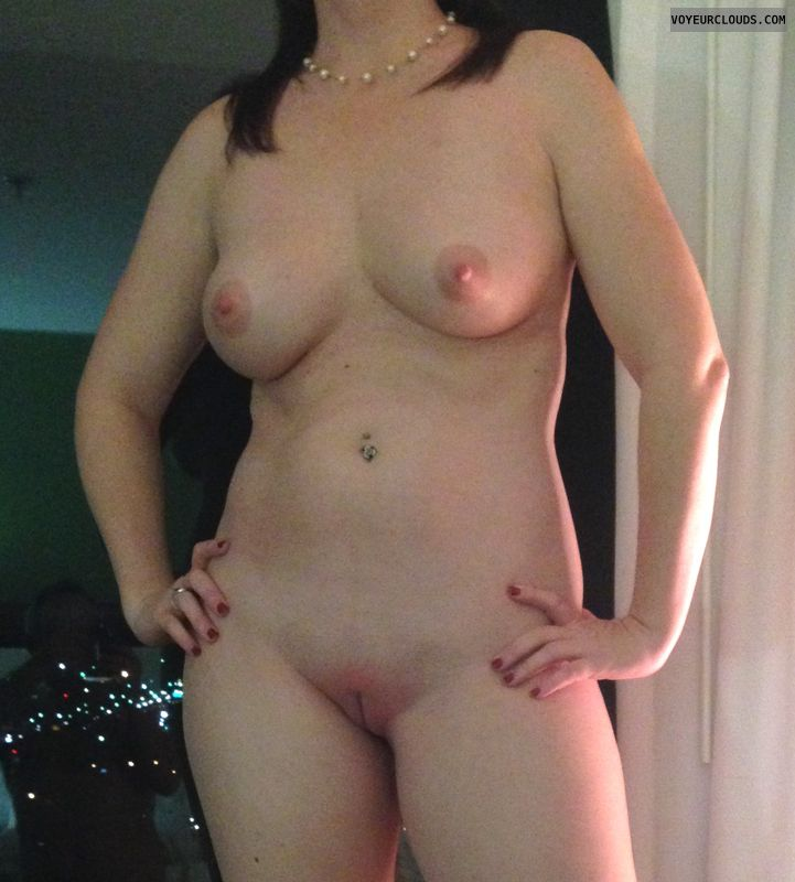 Naked wife, big tits, shaved pussy, public, voyuer