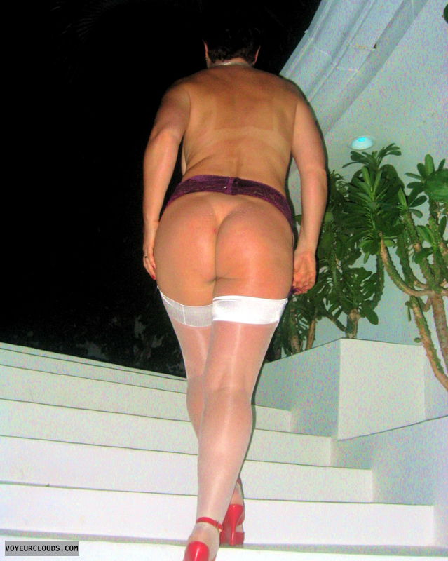 nude walking, nude ass, suspenders, nylons, big ass