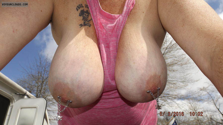 tits outside, tits, hangers, big tits, boobs, nipples