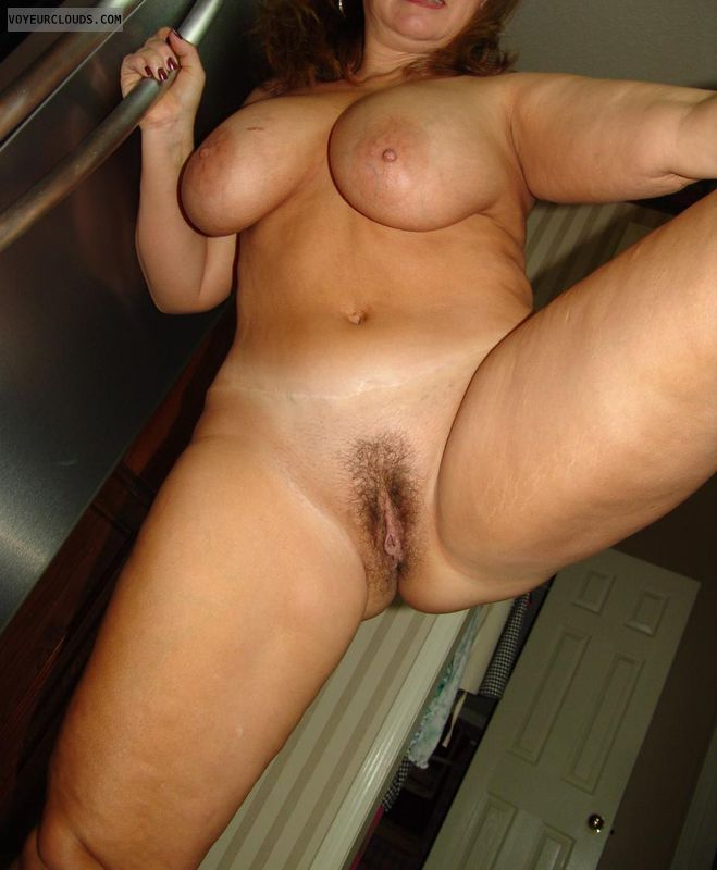hairy pussy, spread legs, hard nipples, big boobs