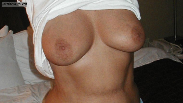 Wife tits, hard nipples, big boobs, braless