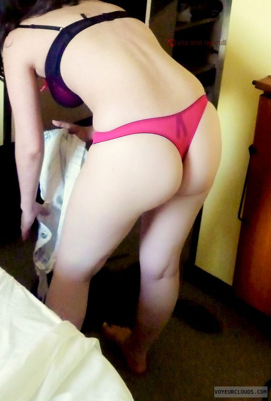 thong, lingerie, ass, bent, bending, bra, pink
