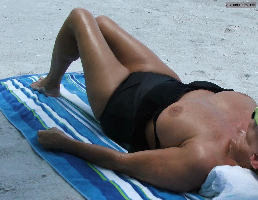 wife tits, topless, beach pic, big tits, hard nipples