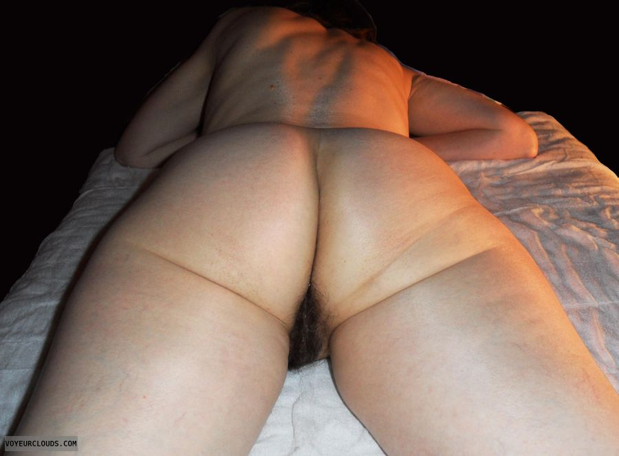mature wife, nude, naked, sexy wife, bed, ass, bush