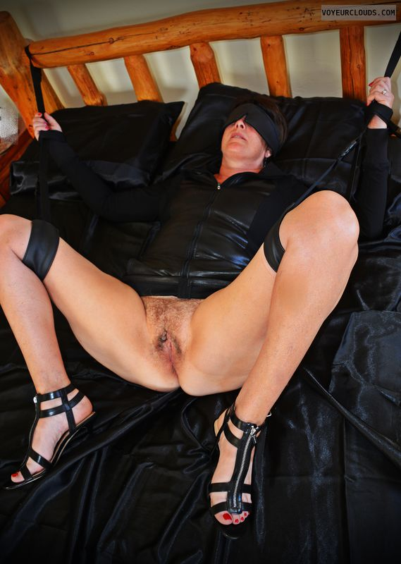 BDSM, kinky, tied-up, submissive, hairy pussy, spread legs