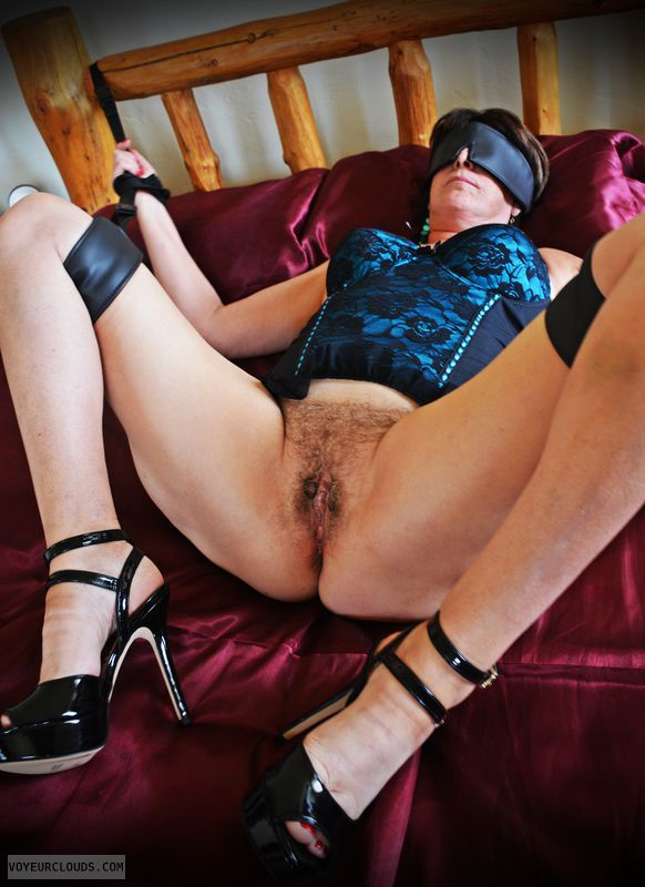 bondage, kinky, GILF, hairy, high heels, tied up, spread legs