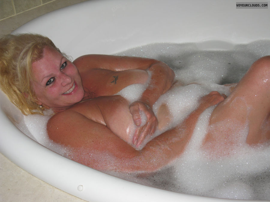 nude wife, wife, bathtub, bathroom, blonde, cute, big tits