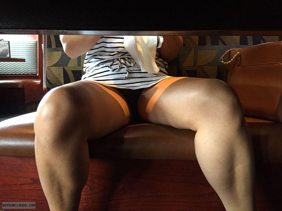 Upskirt milf tease 40 under table
