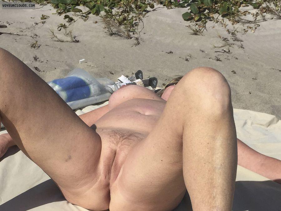 pussy, beach, spread, nude, public beach