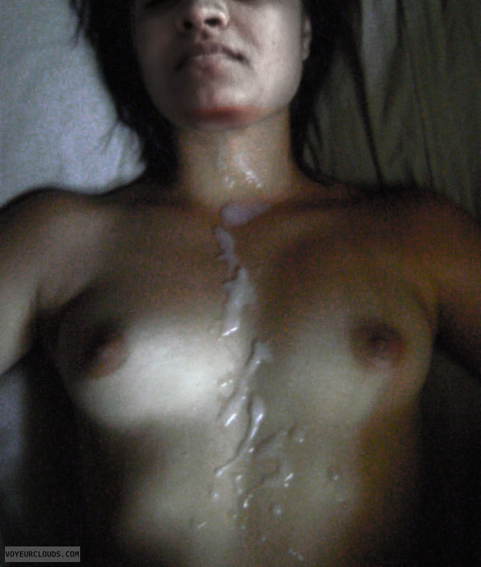 cum, cumshot, tits, sleeping, wife