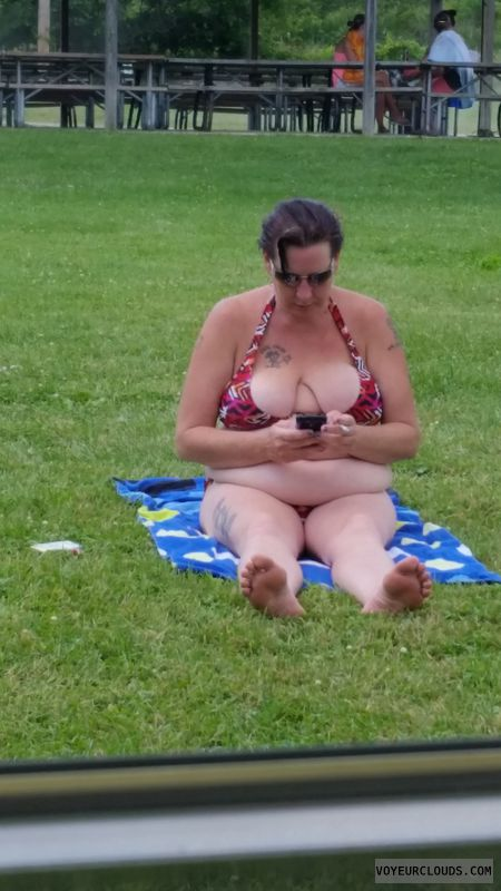 Bikini, Wife, Milf, Cleavage, Big tits, Outside, Public