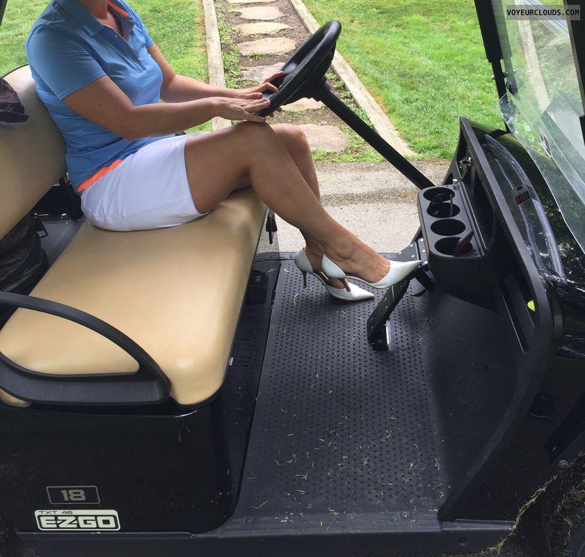 Golf, Golf cart, Milf, Sexy legs, Legs, Heels, Sexy heels