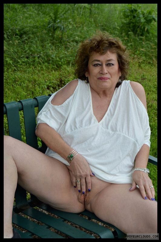 Shaved pussy, milf, outdoors, public, upskirt, no panties