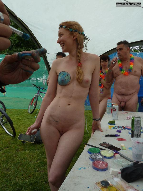 wnbr, hard nipples, shaved