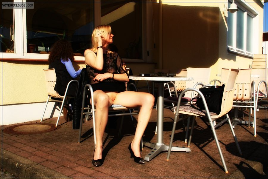 spread legs, shaved, public, outdoor, wife, upskirt