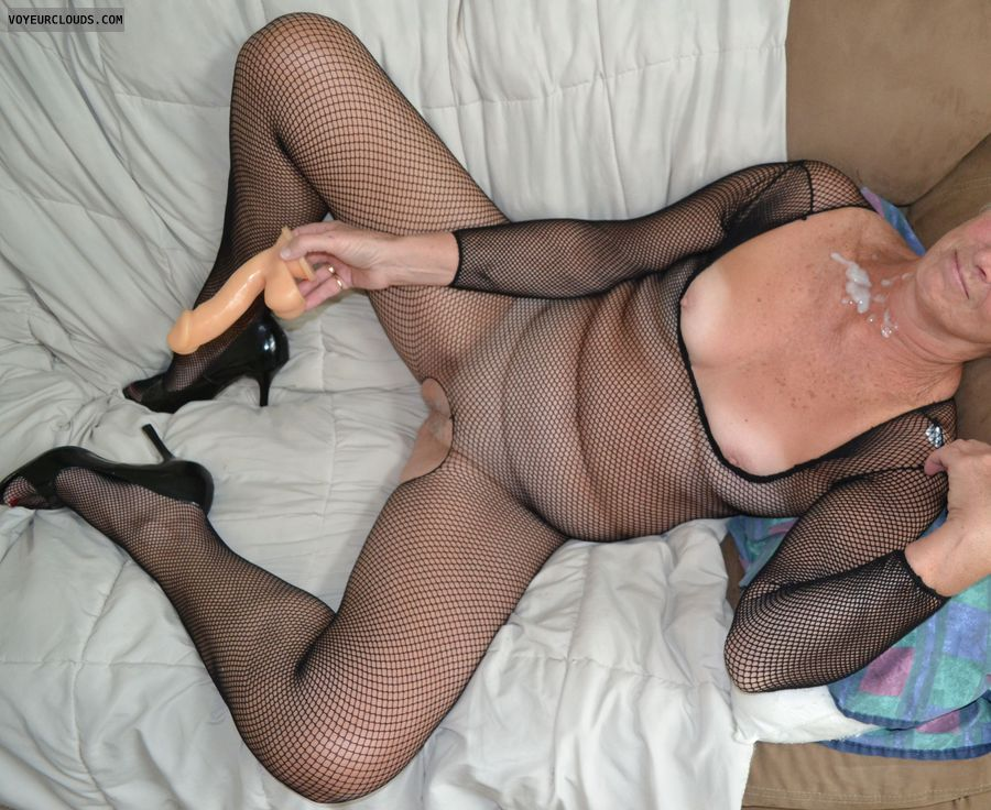 dildo, cum, spread legs, high heels, small tits, hard nipples