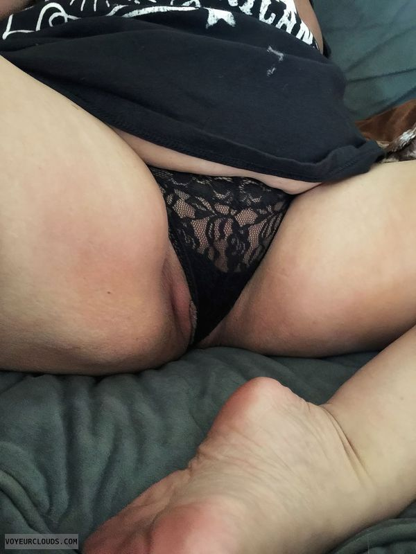 lace panties, black thong, spread legs, pussy peek