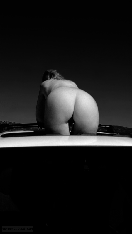 Hot in a Car, Exhibitionist, Erotic Art, Nude in a Car