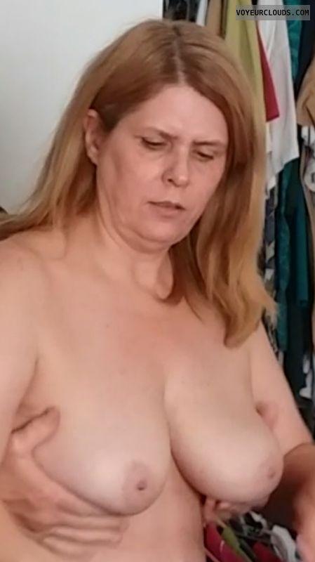 hand bra, topless, hard nipples