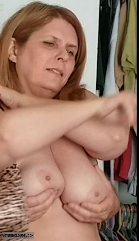 Hand bra, topless, hard nipples, big boobs
