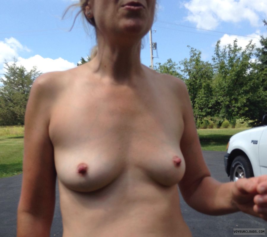 small tits, hard nipples, flashing tits, topless outside