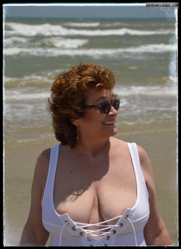 Big tits, milf, nip slip, outdoor, sexy smile