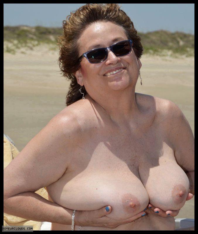 Big tits, milf, beach, outdoor