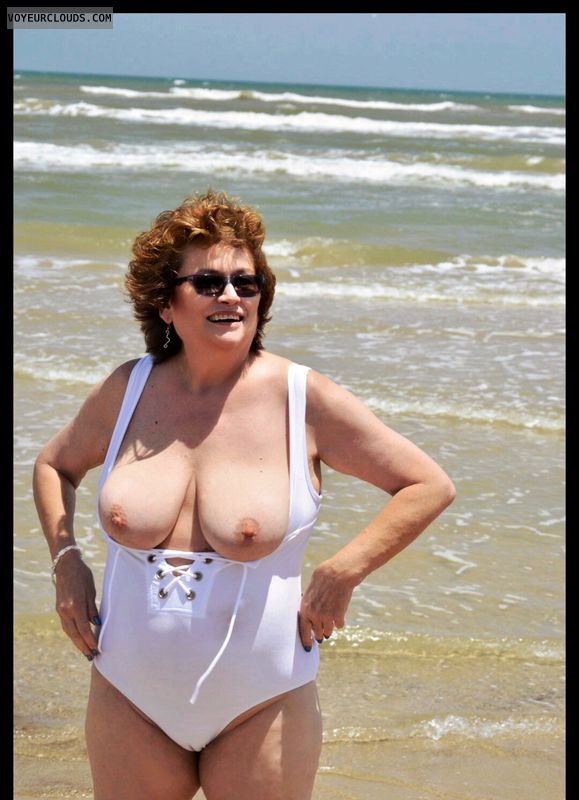 Big tits, milf, beach, outdoors, sexy smile