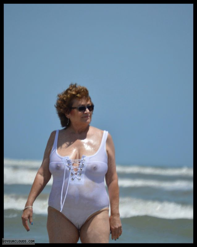 Big tits, cameltoe, milf, sheer, see through, beach