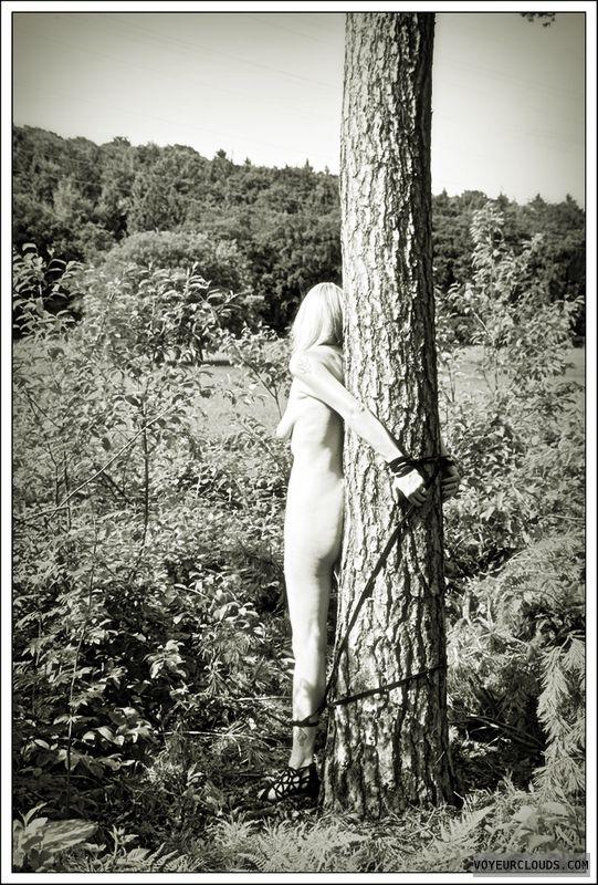 nude wife, bondage, outdoor, public, woods, heels