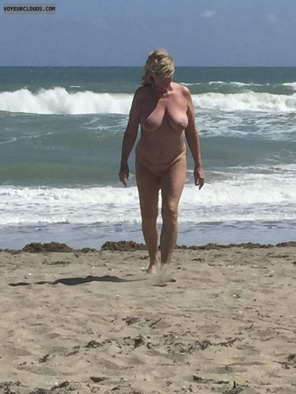 nude wife, public beach, big tits, hard nipples, shaved pussy