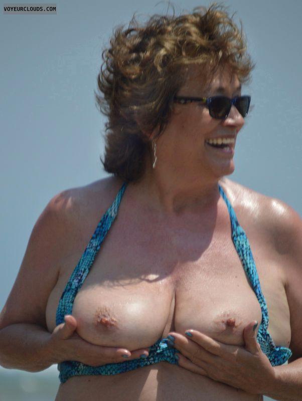Big tits, hard nipples, milf, beach, sexy mile