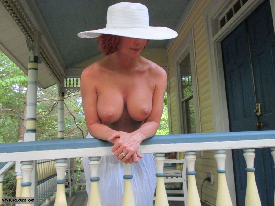 milf boobs, cougar tits, hard nipples, big tits, topless outdoors