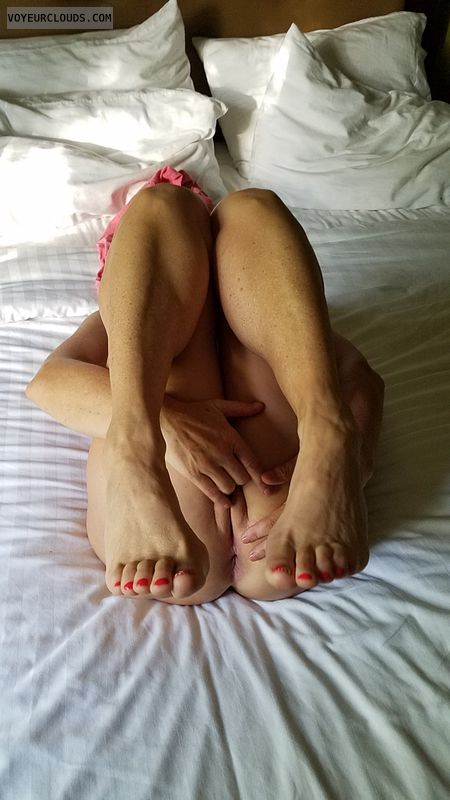Pussy play, solo play, bottomless, pussy lips, legs up
