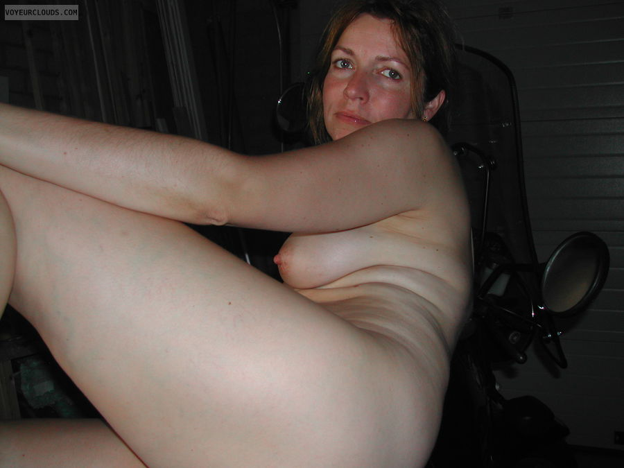 Brunette, milf, small tits, bald pussy