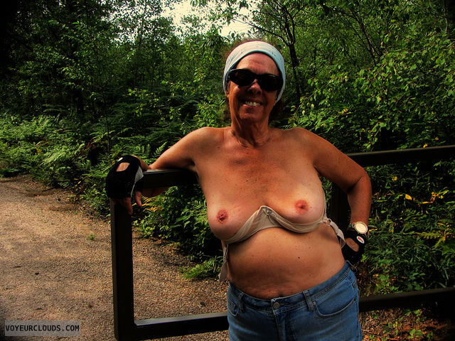 outdoors, topless, exhibtionist, mature