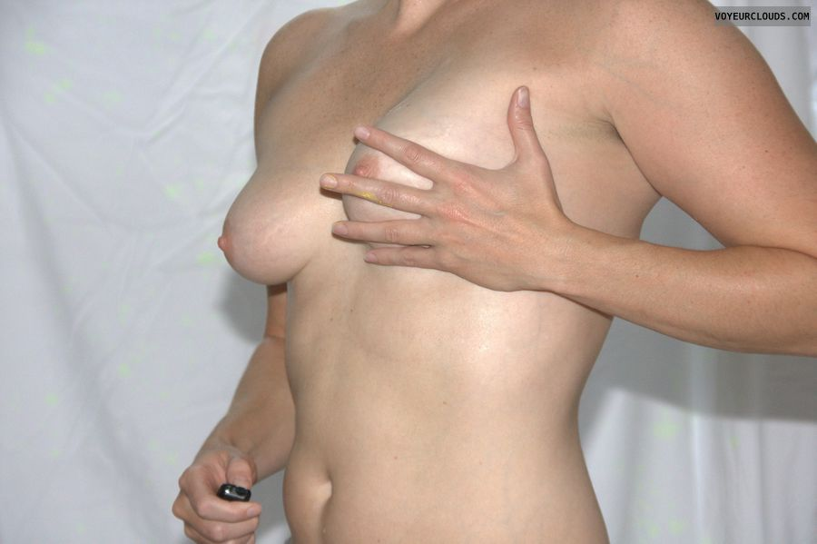 self pic, topless, pink nipples, milf, breast squeeze